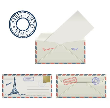 postmark: Set of envelopes from Paris with a painted the Eiffel Tower and postmark. Stylization. Vector illustration.