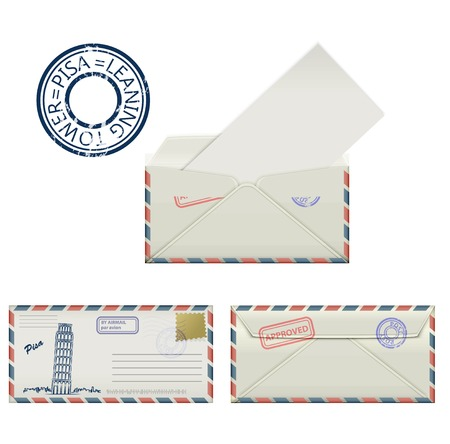 postmark: Set of envelopes from Pisa with a painted the Leaning tower and postmark. Stylization. Vector illustration.