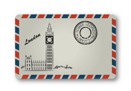 elizabeth tower: Letter from London with the Tower Elizabeth painted. Stylization. Vector illustration. Illustration