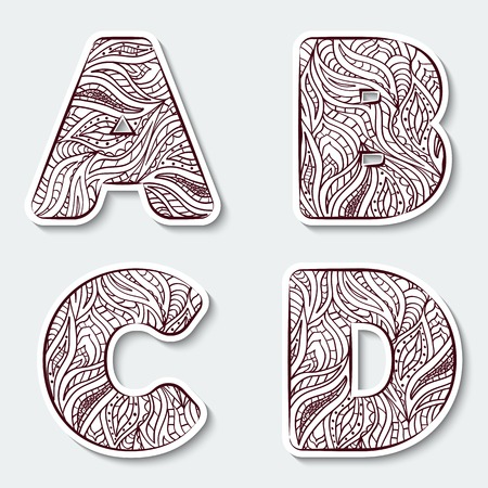 scrawl: Set of capital letters  ? ? ? D from the alphabet with abstract pattern in tribal Indian style. Vector illustration. Illustration