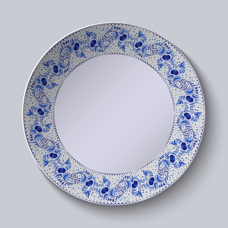 Decorative plate with floral pattern in blue and white space in the center. Stylized Gzhel. Vector illustration.