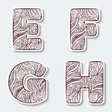 Set of capital letters  E, F, G, H from the alphabet with abstract pattern in tribal Indian style. Vector illustration.  イラスト・ベクター素材