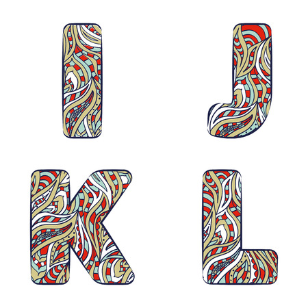 Letters I, J, K, L.  Set colorful alphabet of doodles patterns isolated on a white background. Vector illustration. Illustration