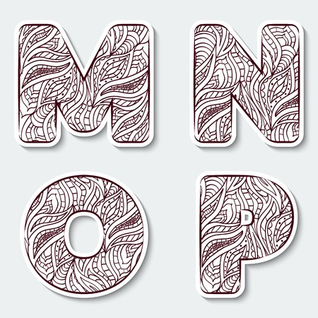 Set of capital letters  M, N, O. P from the alphabet with abstract pattern in tribal Indian style. Vector illustration.