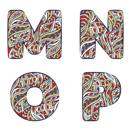 Letters M, N, O, P. Set colorful alphabet of doodles patterns isolated on a white background. Vector illustration.