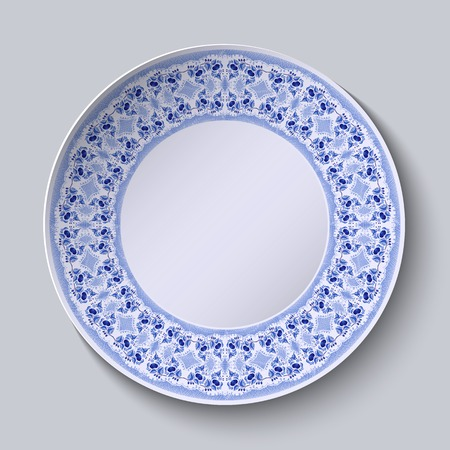 porcelain flower: Circular blue flower pattern with empty space in the center. White porcelain plate with a stylized pattern in ethnic style. Vector illustration.