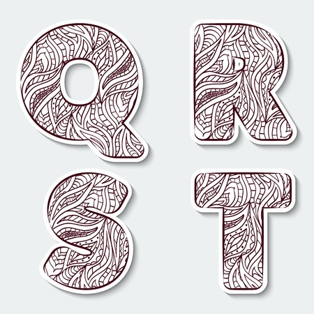 Set of capital letters  Q, R, S, T from the alphabet with abstract pattern in tribal Indian style. Vector illustration. Illustration
