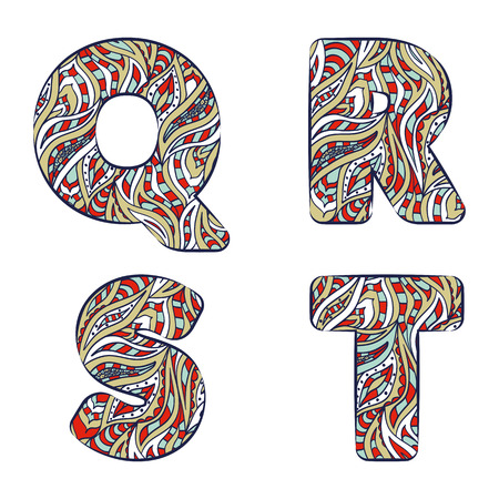 Letters Q, R, S, T. Set colorful alphabet of doodles patterns isolated on a white background. Vector illustration. Illustration