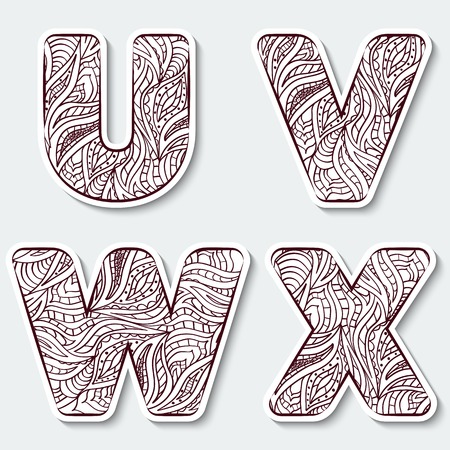 Set of capital letters  U, V, W, X from the alphabet with abstract pattern in tribal Indian style. Vector illustration.