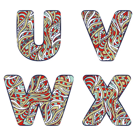 Letters U, V, W, X.  Set colorful alphabet of doodles patterns isolated on a white background. Vector illustration.