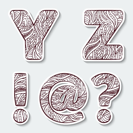 Set of capital letters  Y, Z from the alphabet, exclamation mark, question mark and at commercial with abstract pattern in tribal Indian style. Vector illustration.