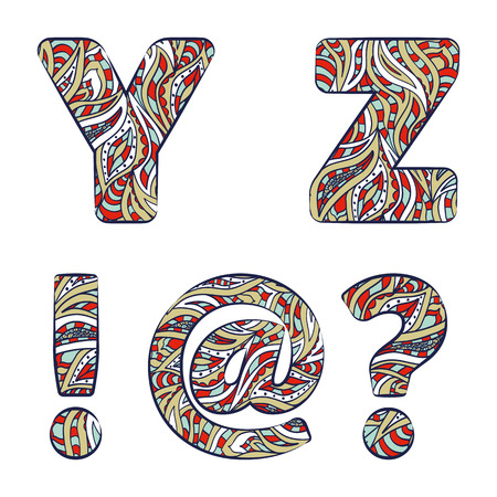 Letters Y, Z, exclamation mark, question mark, at commercial.  Set colorful alphabet of doodles patterns isolated on a white background. Vector illustration.