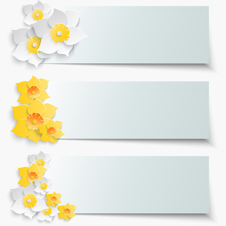 parting: A set of banners with 3d yellow daffodils. Spring floral paper stickers. Vector illustration.