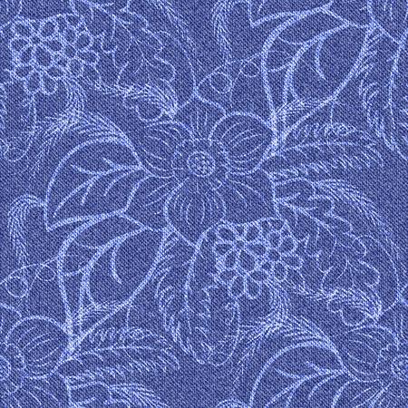 Denim de fond sans soudure avec des fleurs blanches imprimées. Jeans de motif bleu. Vector illustration. Banque d'images - 38018762