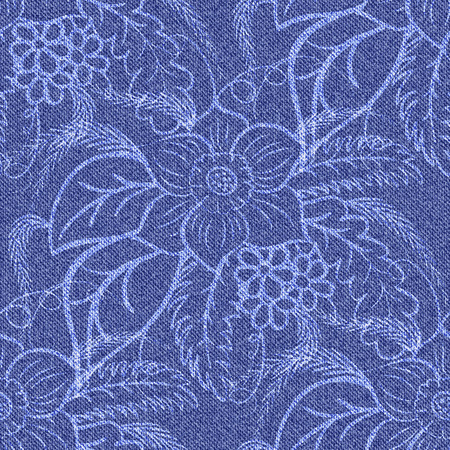 Denim seamless background with printed white flowers. Jeans blue pattern. Vector illustration.