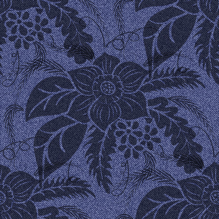 Jeans seamless background with printed black flowers. Denim dark blue pattern. Vector illustration. Illustration