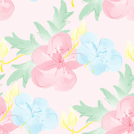 Seamless watercolor background with flowers. Gentle digital pattern. Vector illustration.