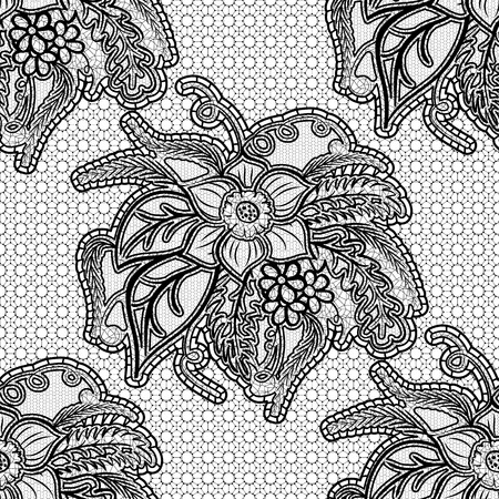 the womanly: Seamless lace fabric. Black floral openwork pattern on a gray background. Vector illustration. Illustration
