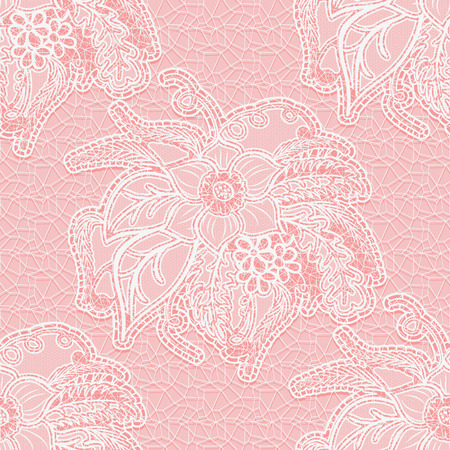 the womanly: Seamless white lace fabric on a pink background. Large floral pattern for design wedding invitation or greeting card. Vector illustration. Illustration