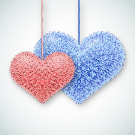 downy: Valentine background. Two fluffy hearts. Vector illustration.