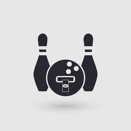gutter: Icon bowling. Banking terminal, ATM bowling club. Pictogram pointer. Vector illustration.