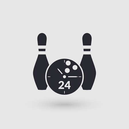 gutter: Icon bowling with clock face. Day and night. Pictogram pointer. Vector illustration. Illustration