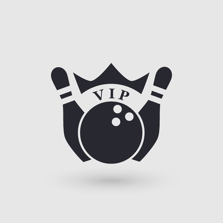 Icon bowling with crown. Inscription VIP . Pictogram pointer. Vector illustration.