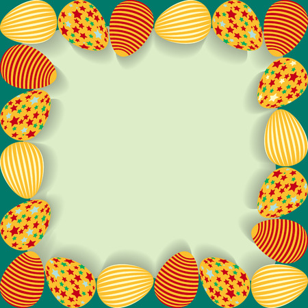 Easter frame with painted eggs. Vector illustration. Vector