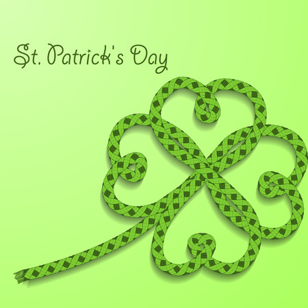 rope vector: Background with inscription St. Patricks Day. Clover with four petals of green folded rope. Vector illustration. Illustration
