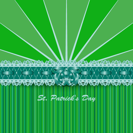 leafed: Saint Patricks Day design with lacy green ribbon and bow. Vector illustration.