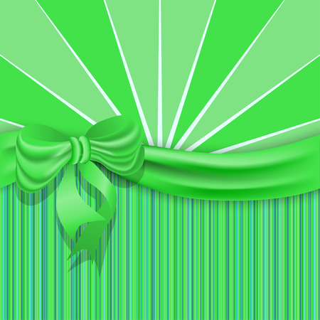St.Patricks background with a green satin ribbon and bow. Vector illustration. Vector