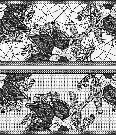 the womanly: Set of two seamless lace ribbon. Black floral pattern. Vector illustration. Illustration