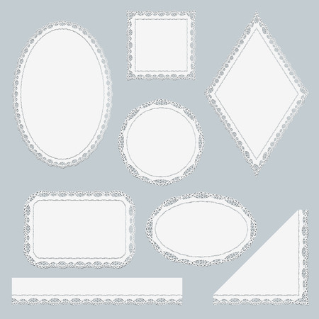 tatting: Set of white lace frames isolated on gray background. Lacy Corner, ribbon and six napkins different shapes. Vector illustration.