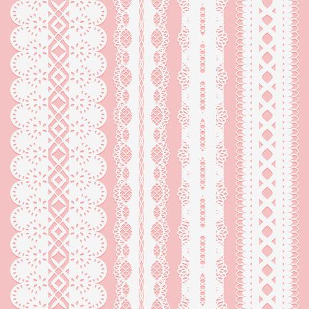スクラップブッ キングのピンクの背景にシームレスな白いレースのリボンのセットです。ベクトルの図。