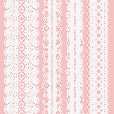 Set of seamless white lace ribbons on a pink background for scrapbooking. Vector illustration.