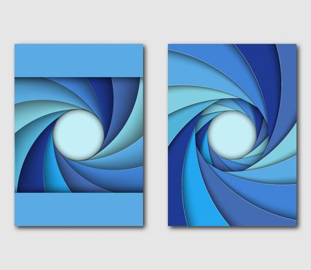 Set of design templates handbill or flyer. Different shades of blue shutter aperture. Vector illustration.