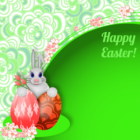 rabbit hole: Easter background with rabbit, easter eggs and flowers. There is a place for your text. Vector illustration.