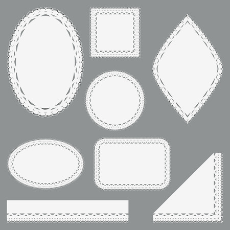 Set of lacy napkins ribbons and corners. Isolated on gray background.  Vector illustration. Çizim