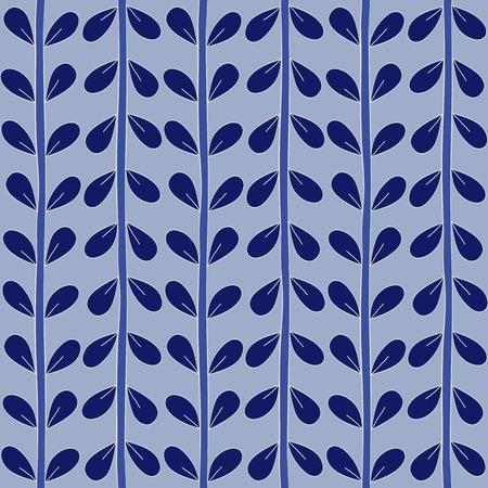 pictorial art: Blue seamless floral pattern handmade. Vector illustration.