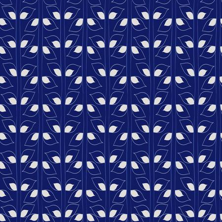 Seamless plants pattern. Blue branches handmade. Vector illustration. Illustration