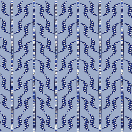 Seamless doodle sprigs. Blue vertical pattern. Vector illustration.