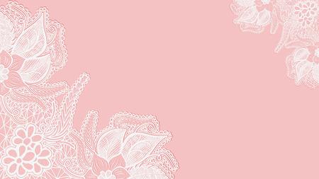 horizontal lines: Fondo de encaje rosa. Tarjeta de felicitación de la plantilla o invitación con flores en las esquinas. Ilustración vectorial