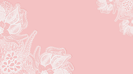 Pink lace background. Template greeting card or invitation with flowers in the corners. Vector illustration Çizim