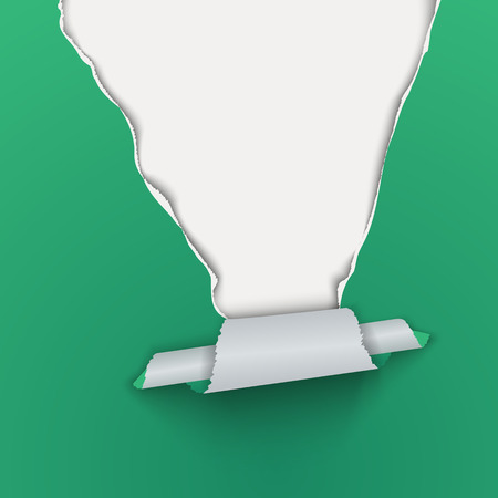 Green background with torn pieces of paper on top. Vector illustration.