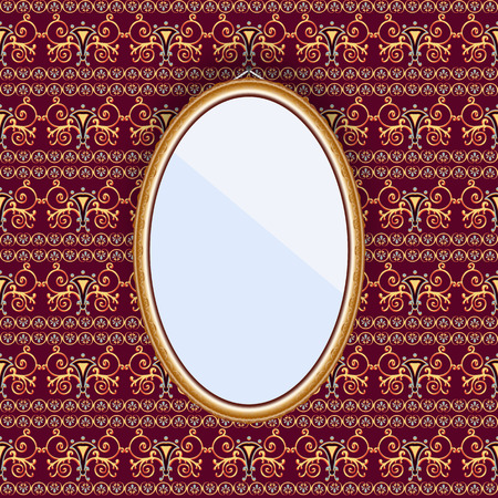 patterned wallpaper: Oval mirror in a frame on the wall with patterned wallpaper. Vector illustration. Illustration
