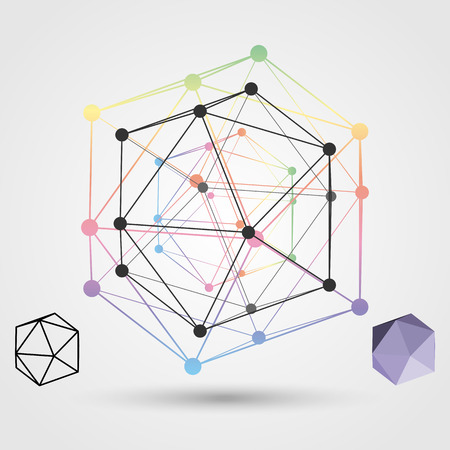 polyhedral: Colorful frame of the polygon on a light background. Abstract concept on the subject of science. Vector illustration.