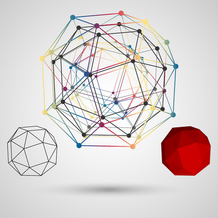 vertices: Colorful frame of the polygon with points at the vertices on a light background. Abstract geometric concept on the subject of science. Composition for your design. Vector illustration. Illustration