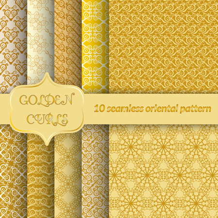 packing paper: Set of 10 seamless patterns with golden curls. Unusual ornament in east style for design of packing paper, fabric, wallpaper, web page backgrounds. Vector illustration.