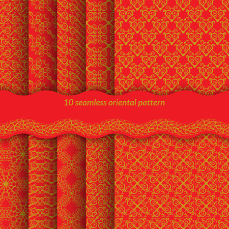 Set of red seamless pattern with spirals. Bright ornament in east style backgrounds for web pages, fabrics, gift wrapping. Without gradients and transparencies. Vector illustration. Vector
