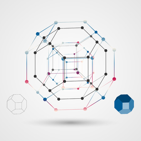 vertices: The skeleton of a polygon with points at the vertices. Abstract geometric background scientific theme. Vector illustration. Illustration